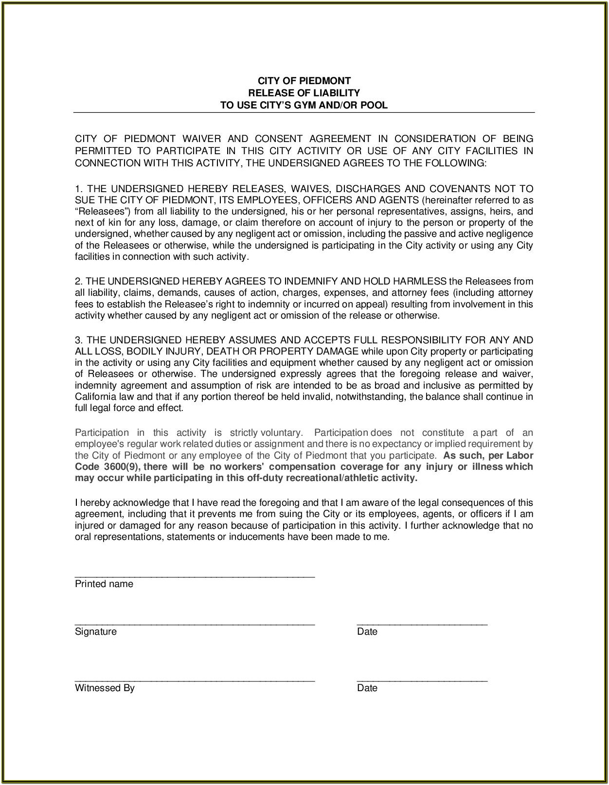 Liability Waiver Form For Gym