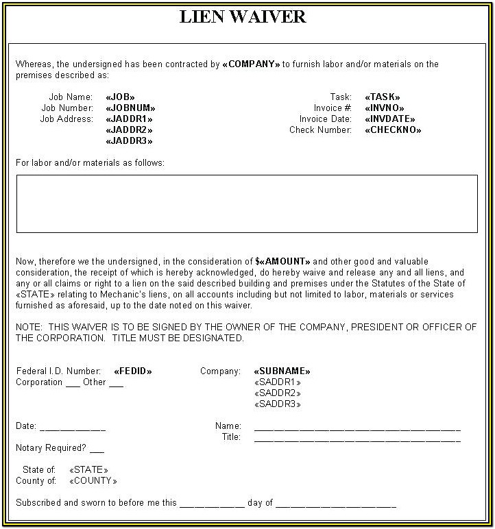 Lien Waiver Forms Construction