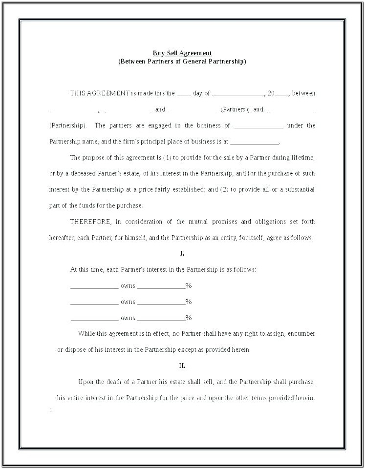 Llc Buyout Agreement Form Template