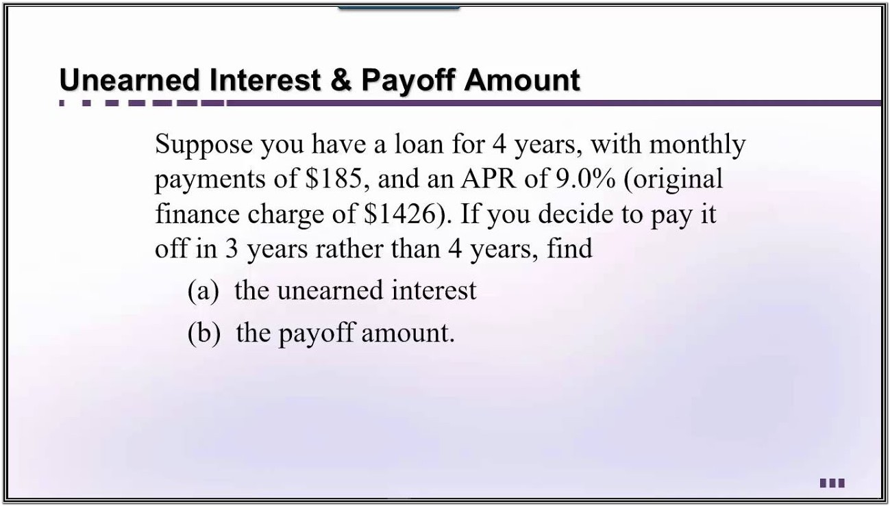 Loan Payoff Formula