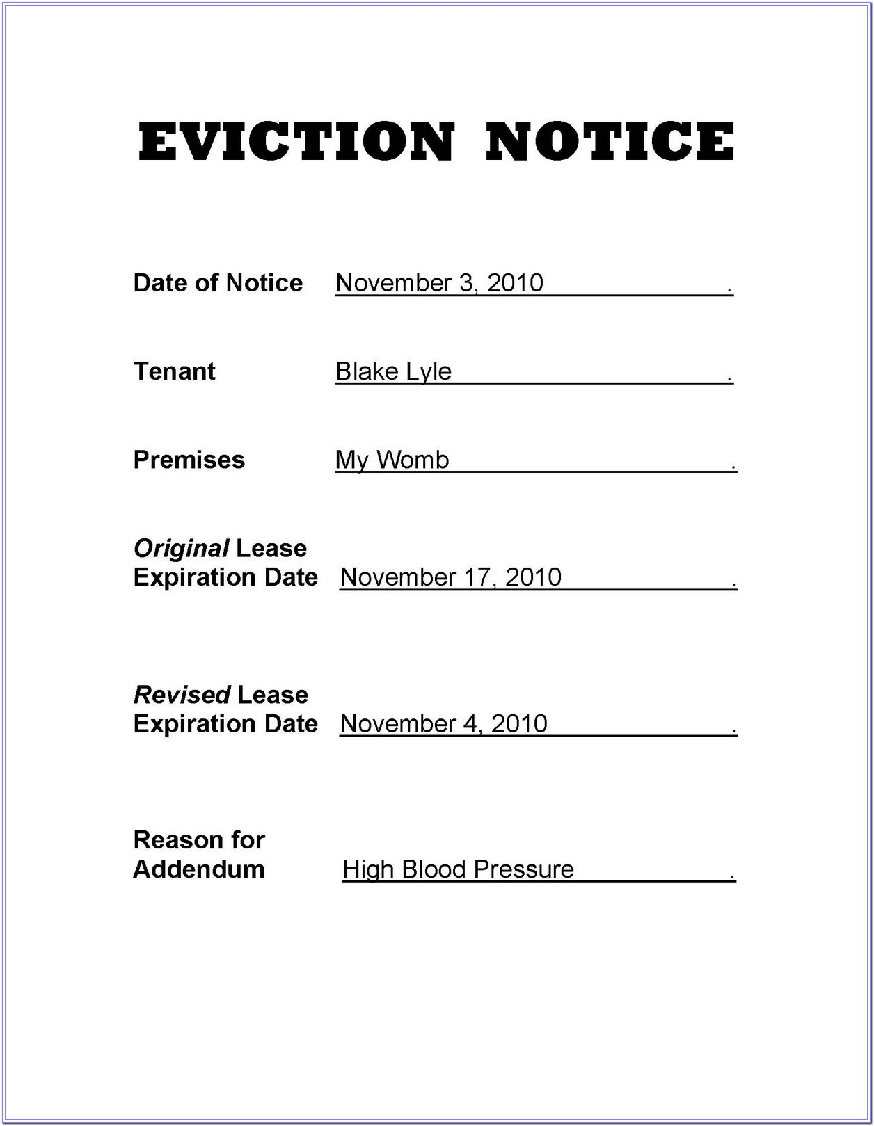 Louisiana Eviction Notice Form