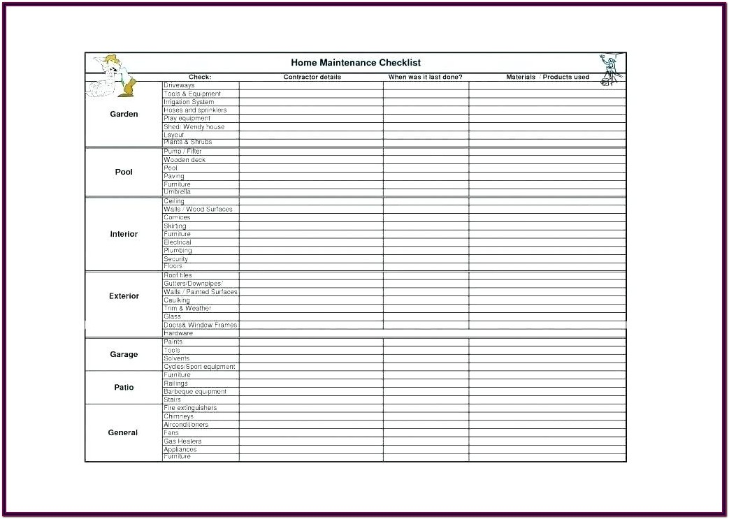 Maintenance Checklist Vehicle Inspection Checklist Form Free Download