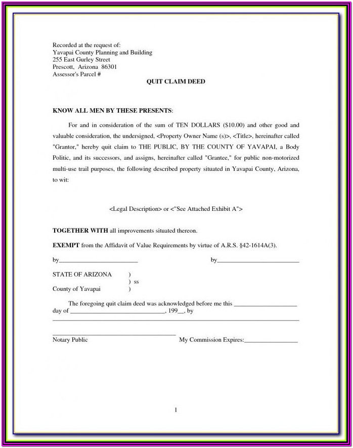 Maricopa County Quit Claim Deed Form Pdf