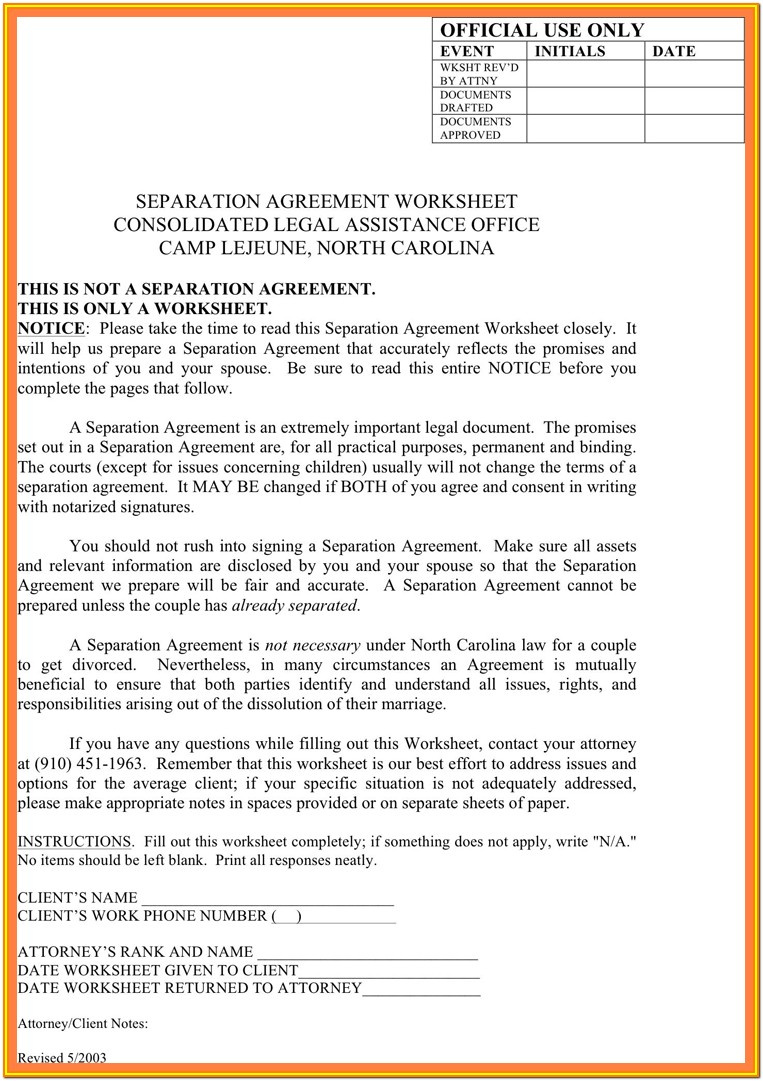 Massachusetts Separation Agreement Form