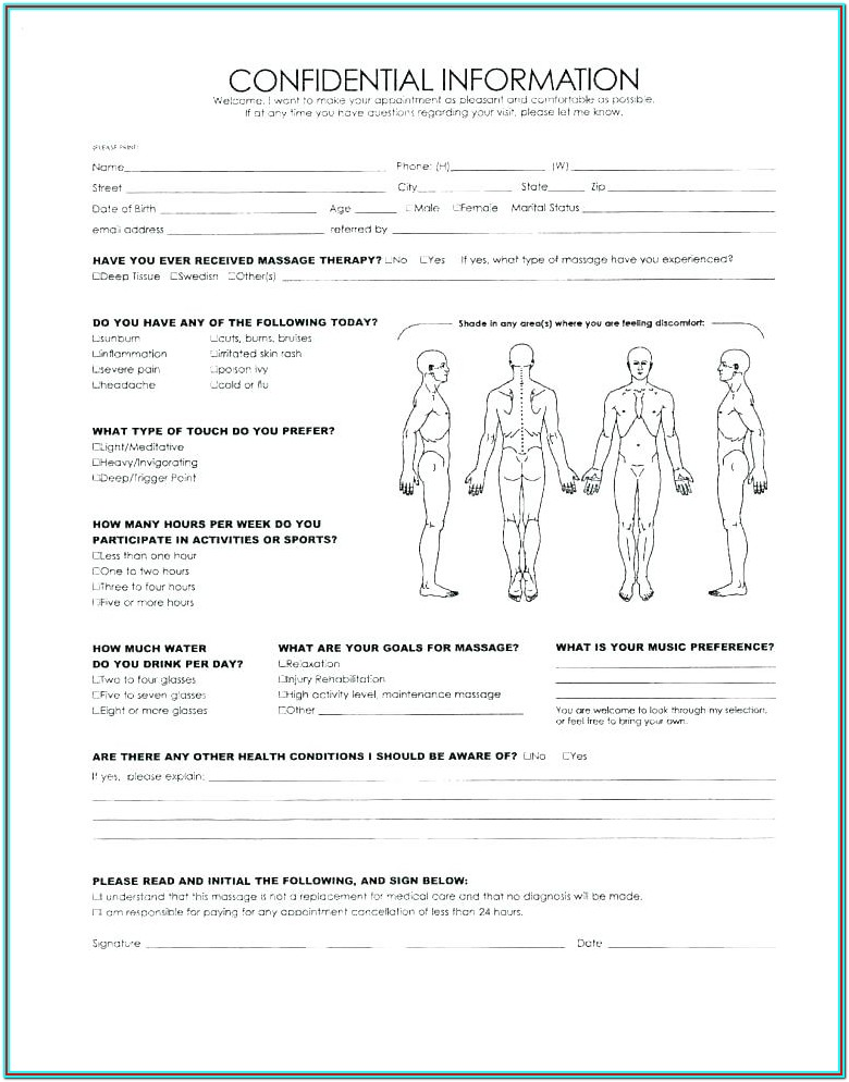 Massage Therapy Intake Form Sample