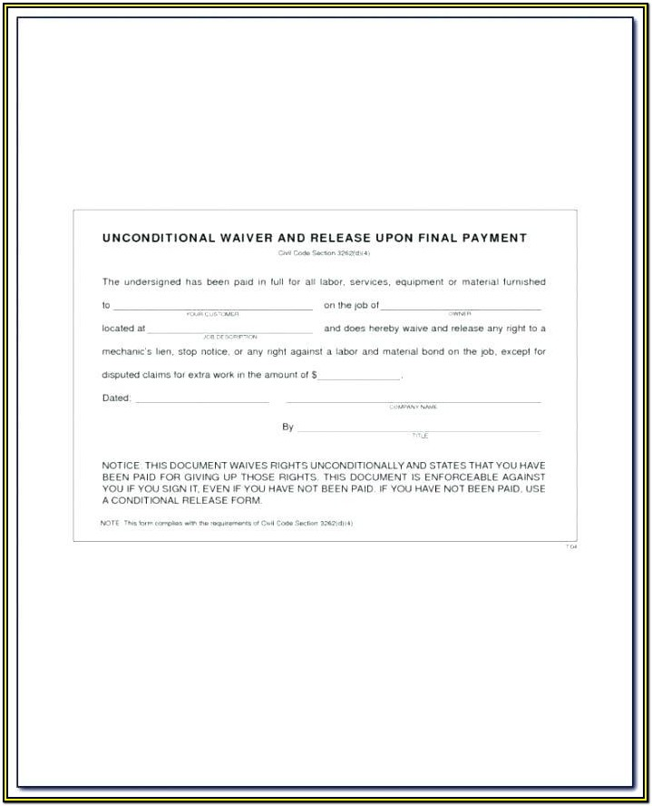 Mechanic Lien Release Form Texas