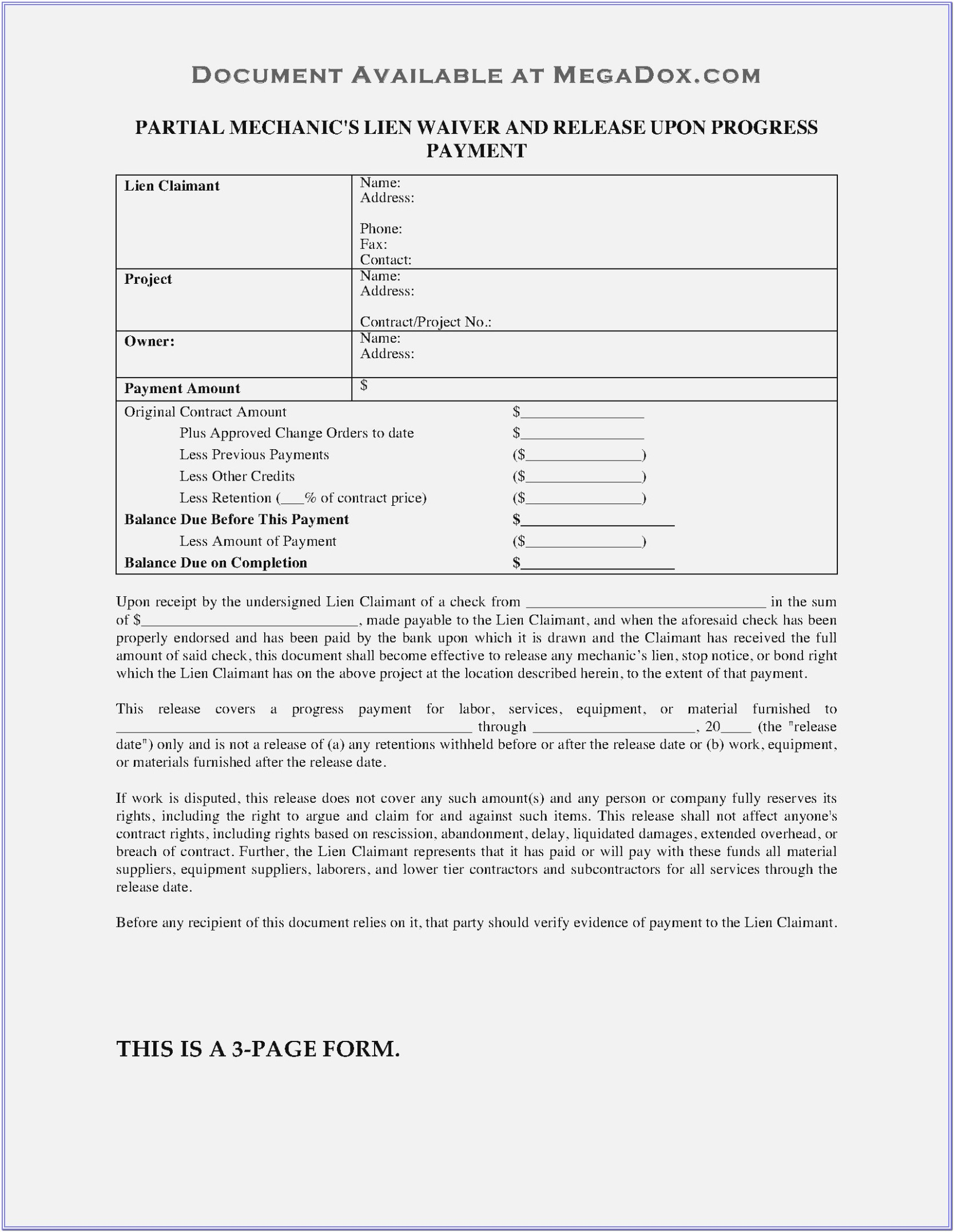Mechanic Lien Waiver Form