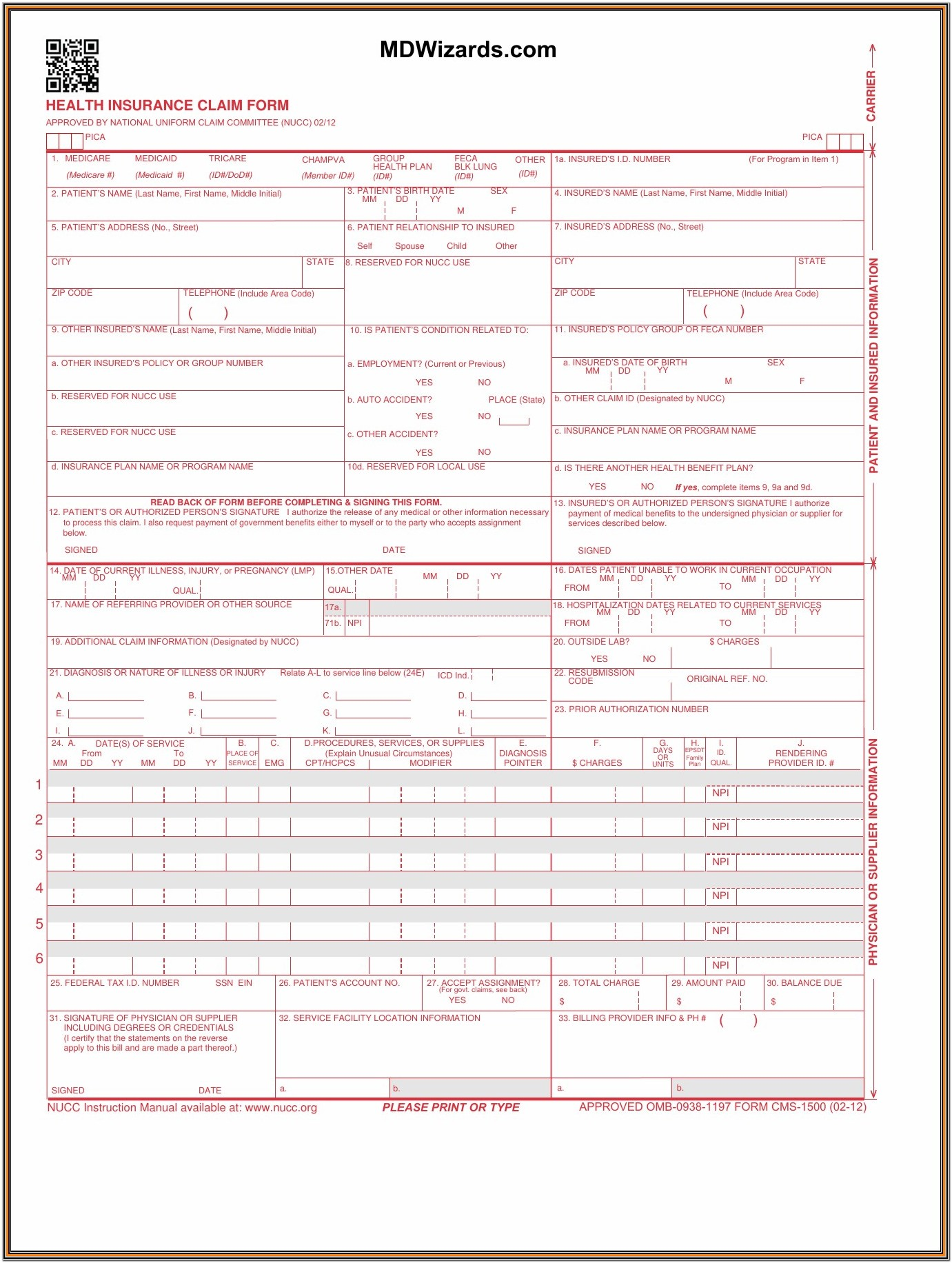 Medicare 1500 Form Instructions