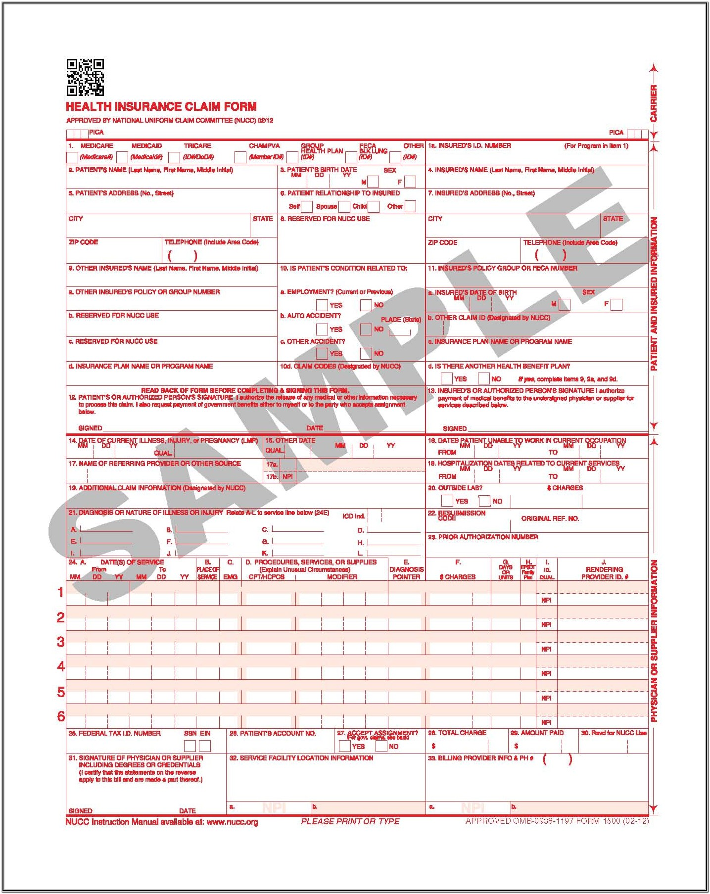 Medicare Claim Form 1500 Instructions