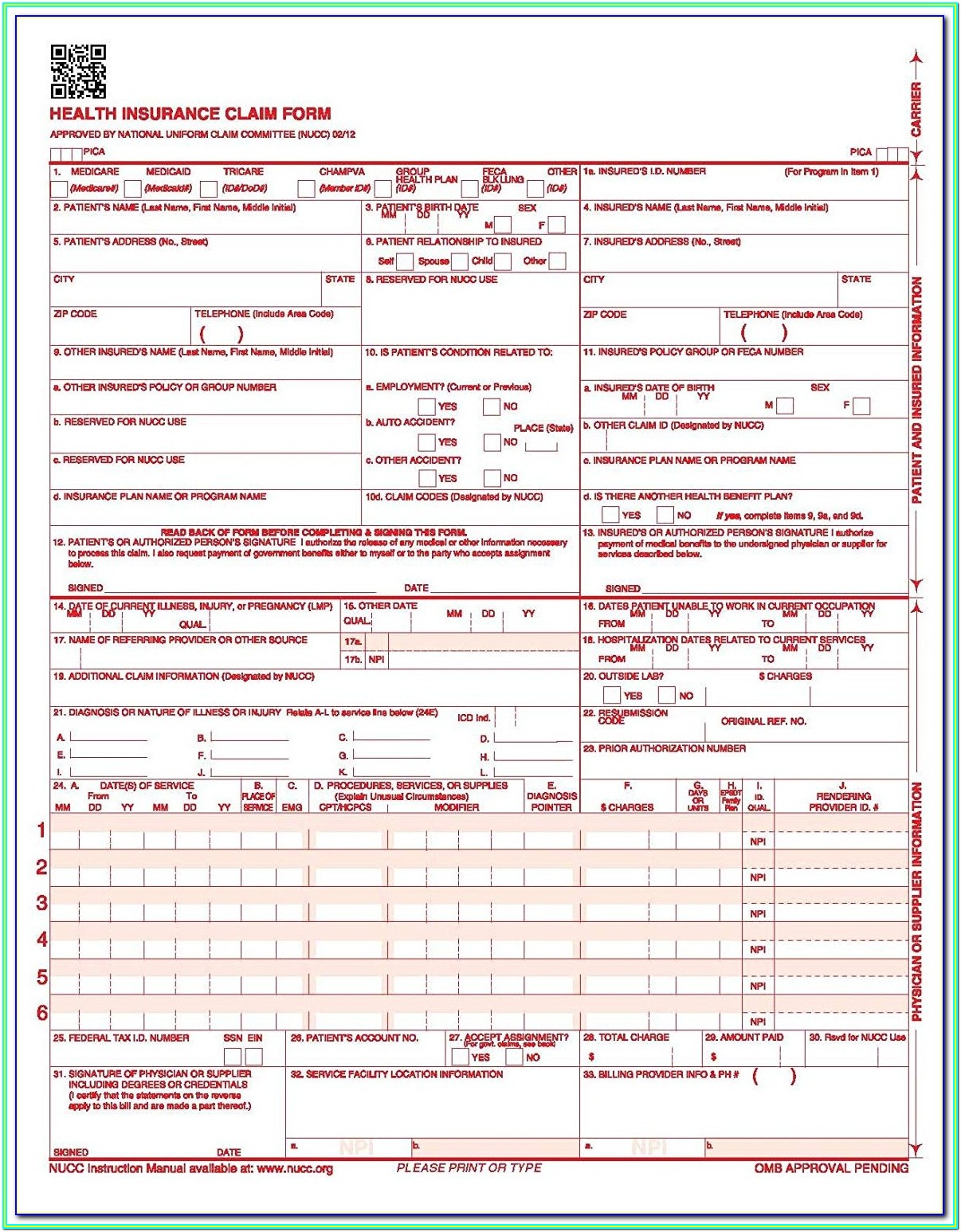 Medicare Completed Cms 1500 Form Sample