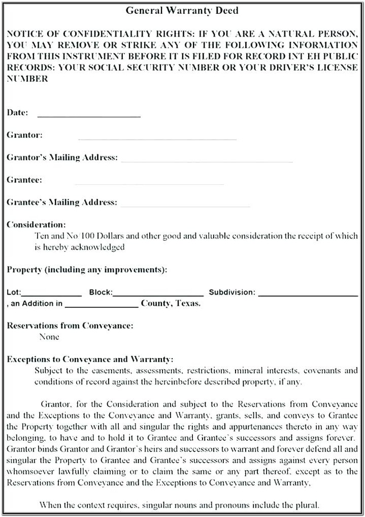 Michigan Warranty Deed Form