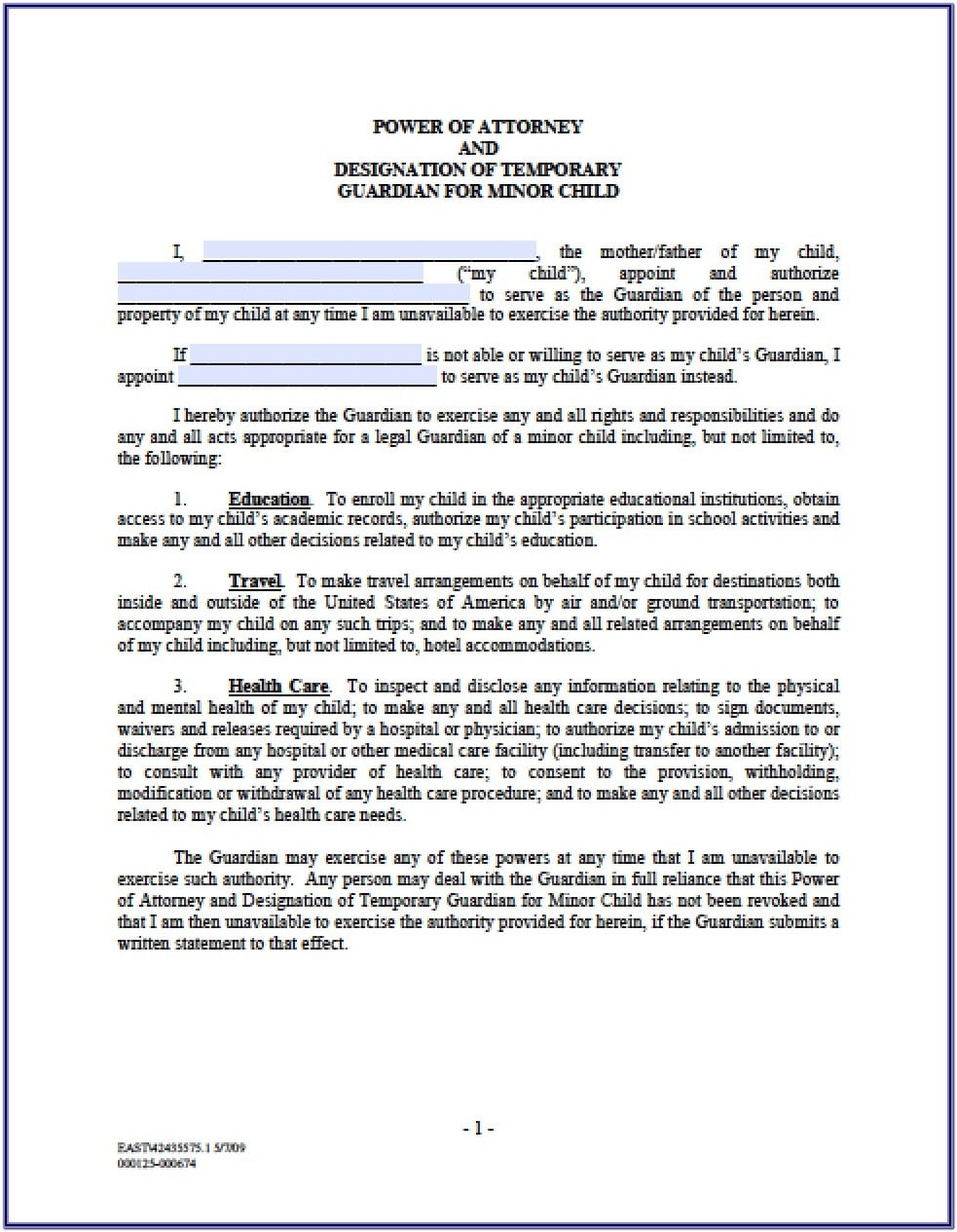 Minor Child Permanent Guardianship Form