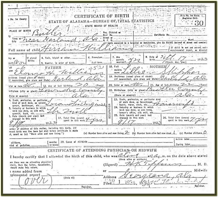 Mississippi Birth Certificate Form