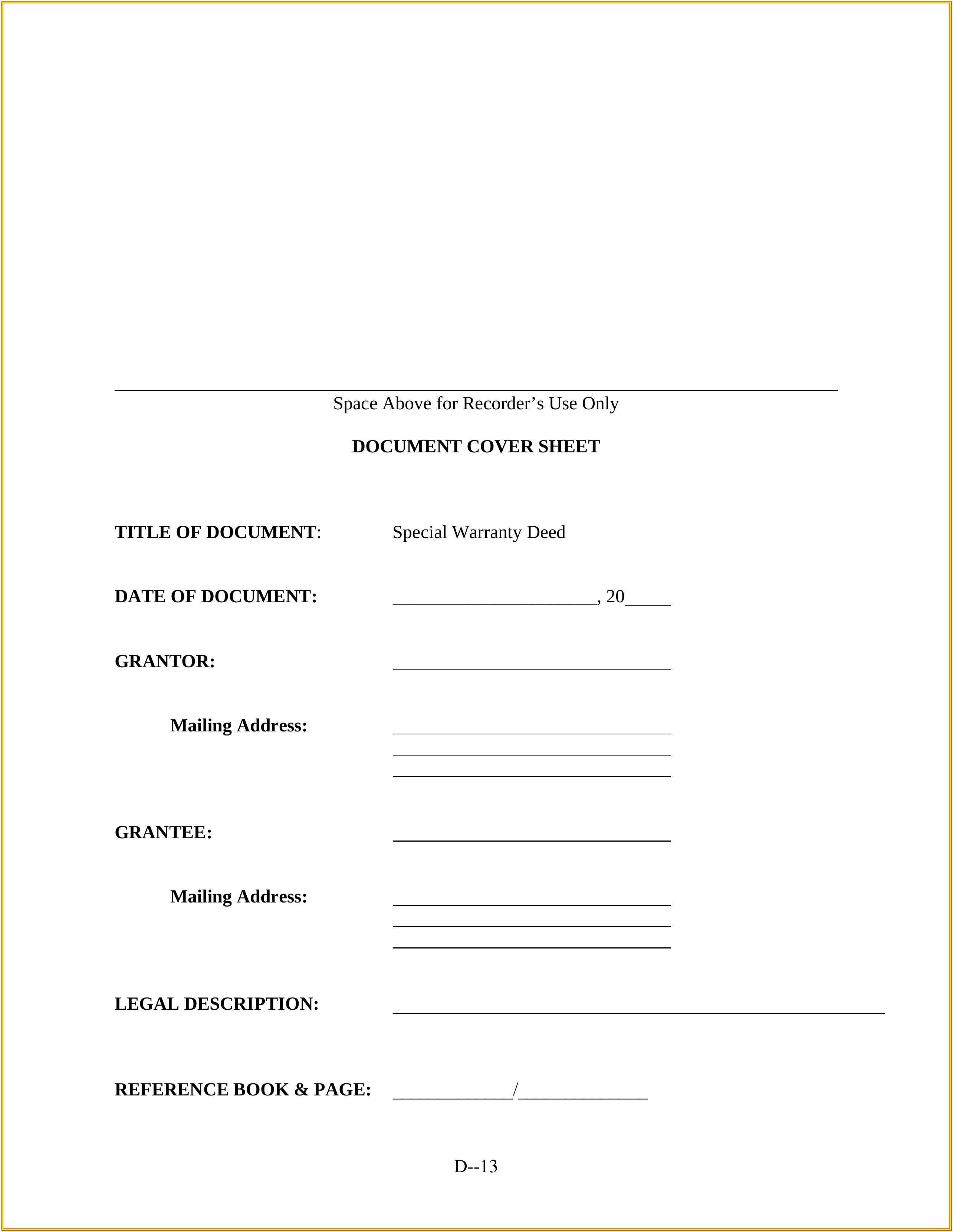 Missouri Warranty Deed Form