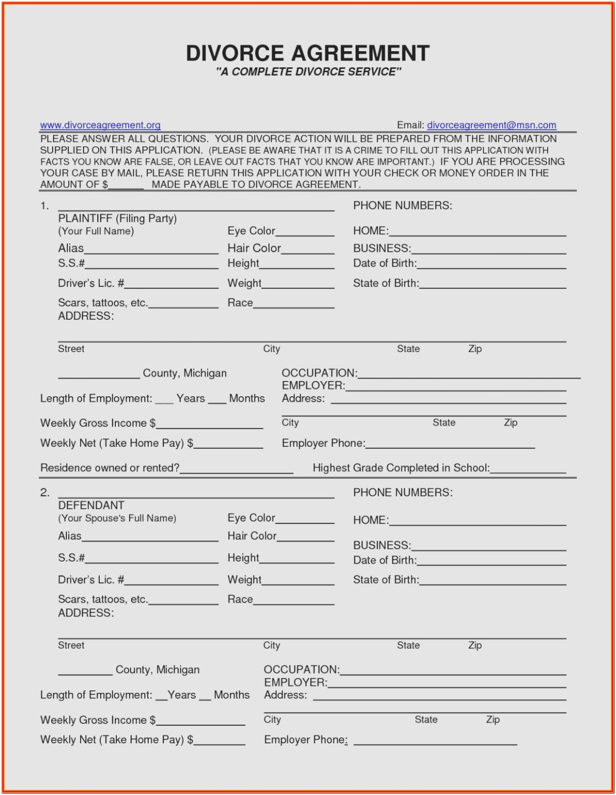 Mn Divorce Forms Printable