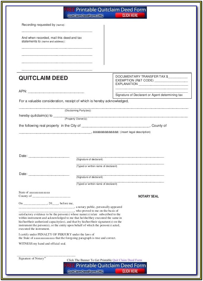Montana Quit Claim Deed Form