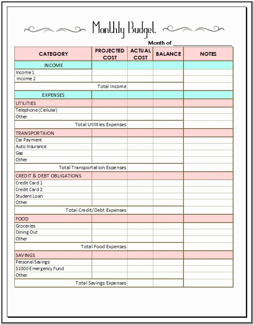 Monthly Budget Forms Printable