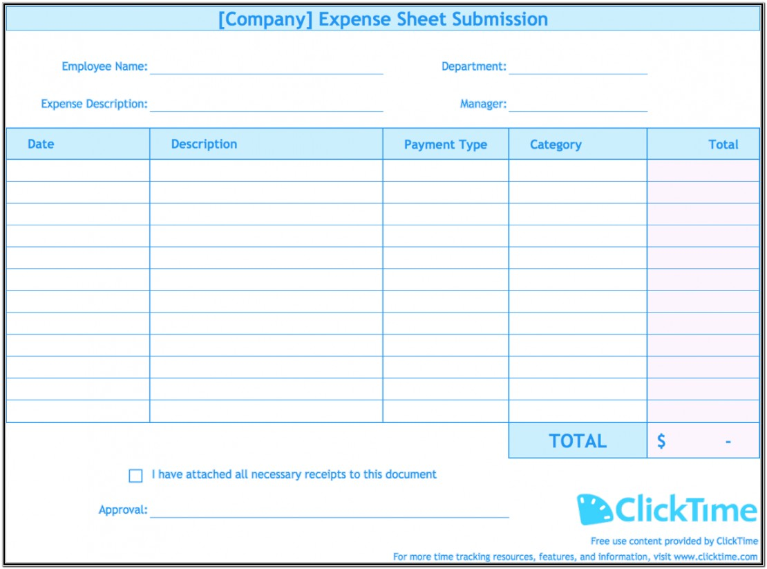 Monthly Expense Budget Forms Printable