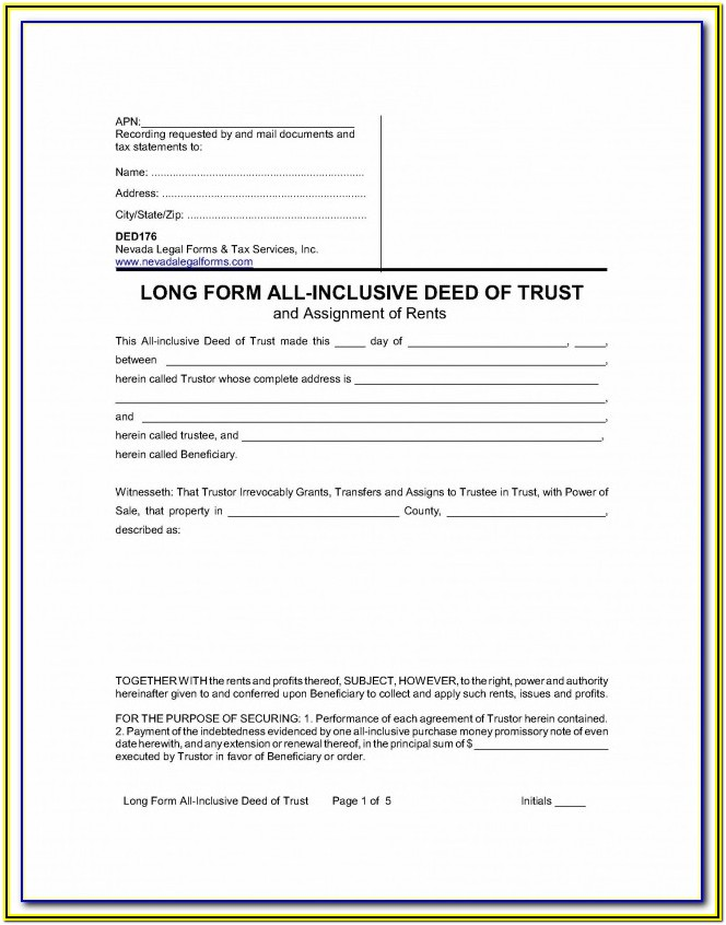 Nc Deed Of Trust Form
