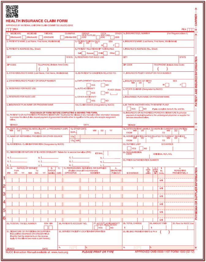 New Cms 1500 Claim Form