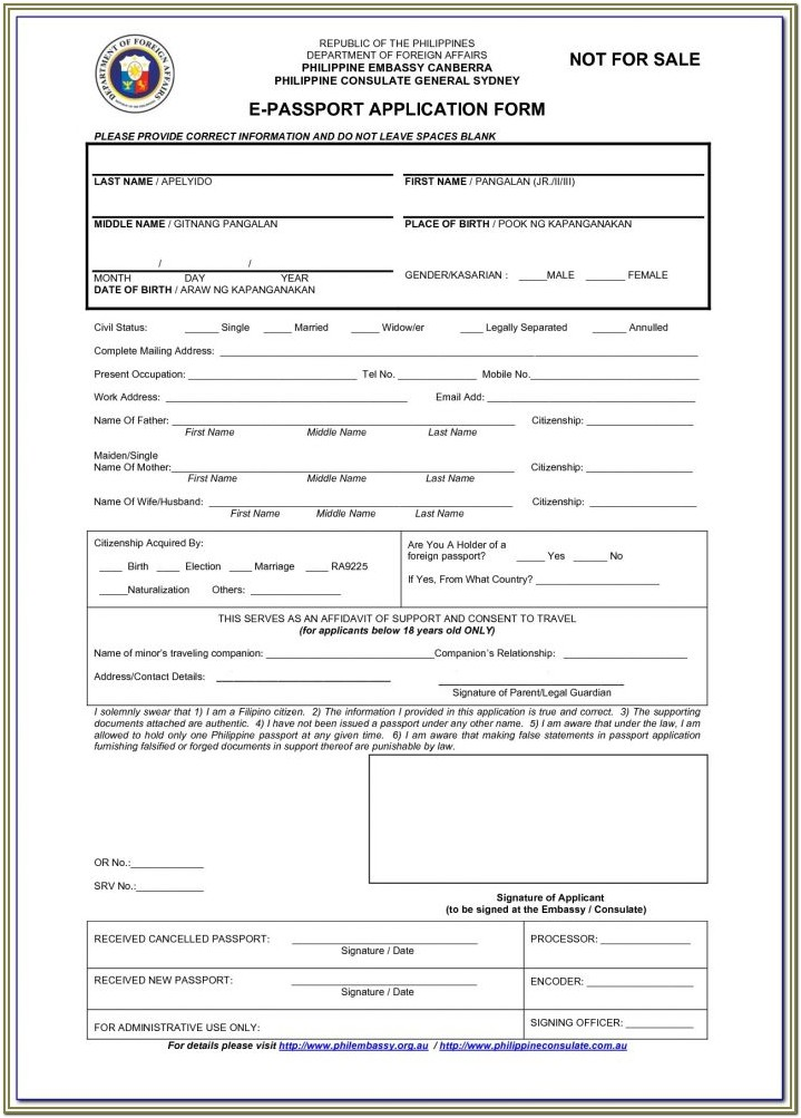 Nigerian Passport Renewal Application Form