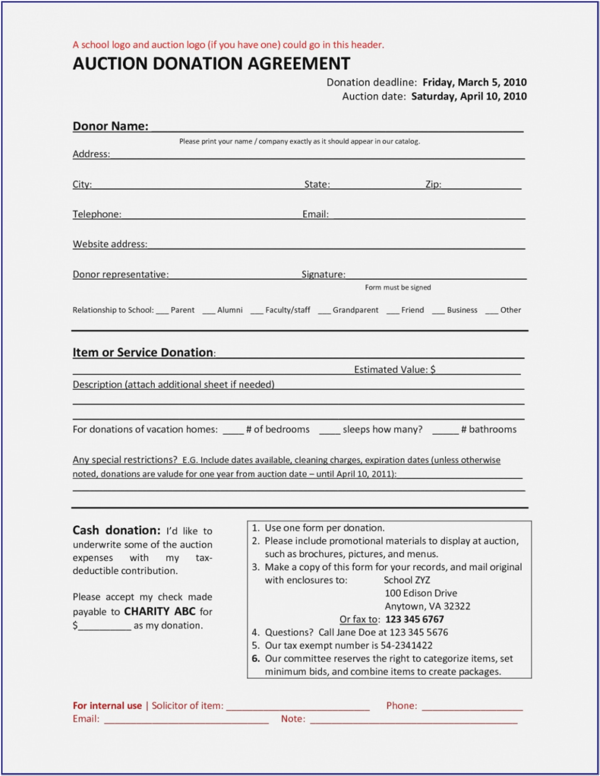 Non Profit Charitable Donation Form Template