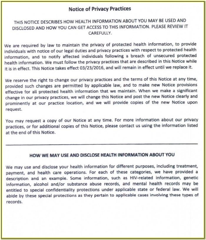 Notice Of Privacy Practices Acknowledgement Form