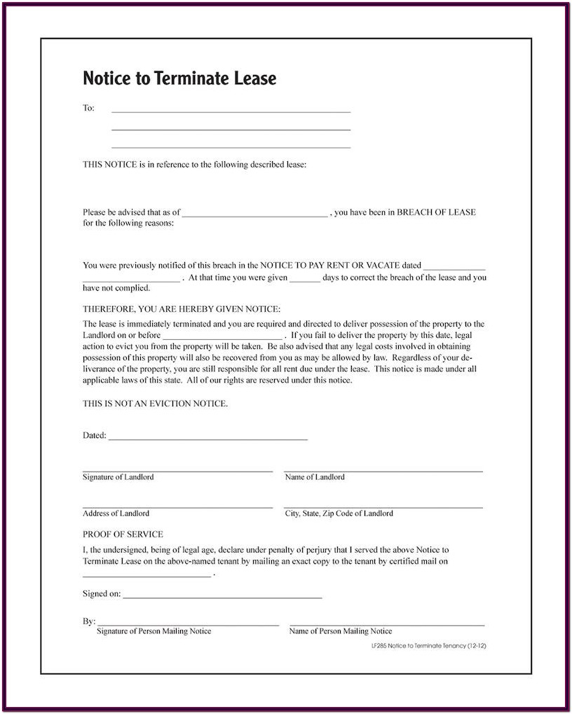 Notice To Terminate Tenancy Form Washington State