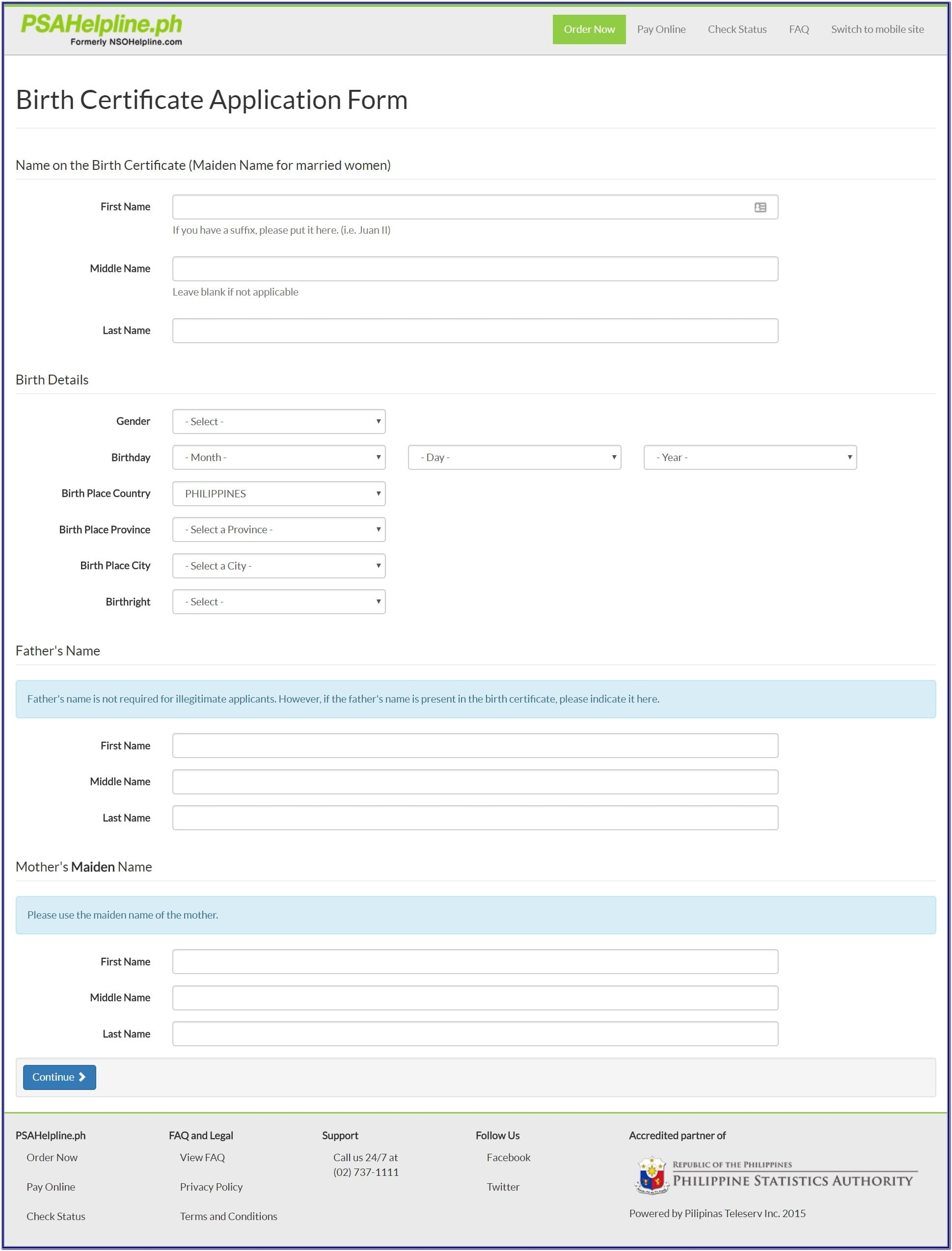 Nso Online Application Form For Birth Certificate