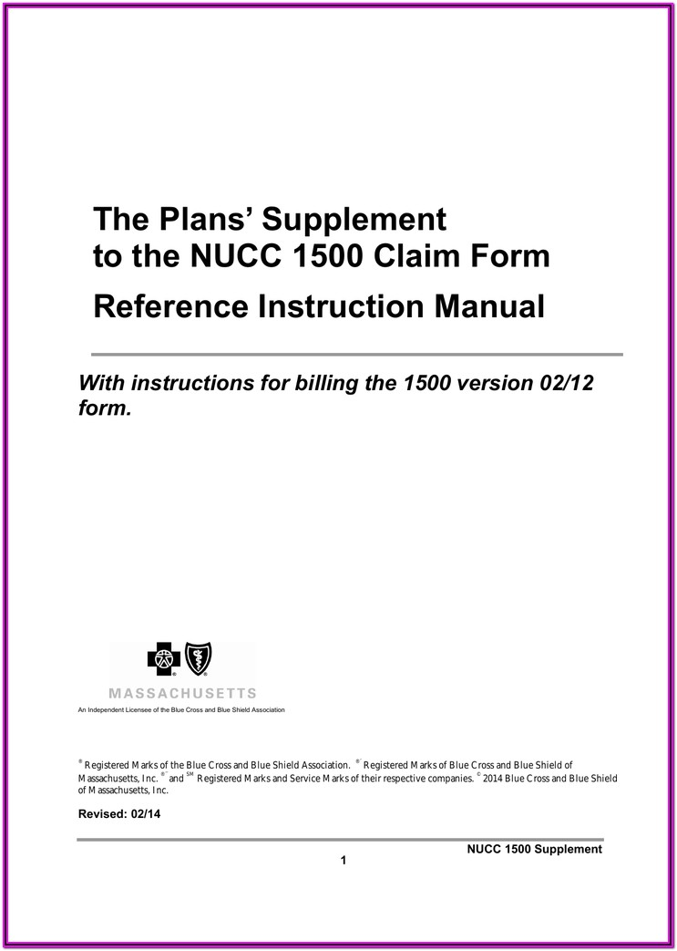 Nucc 1500 Claim Form Reference Instruction Manual