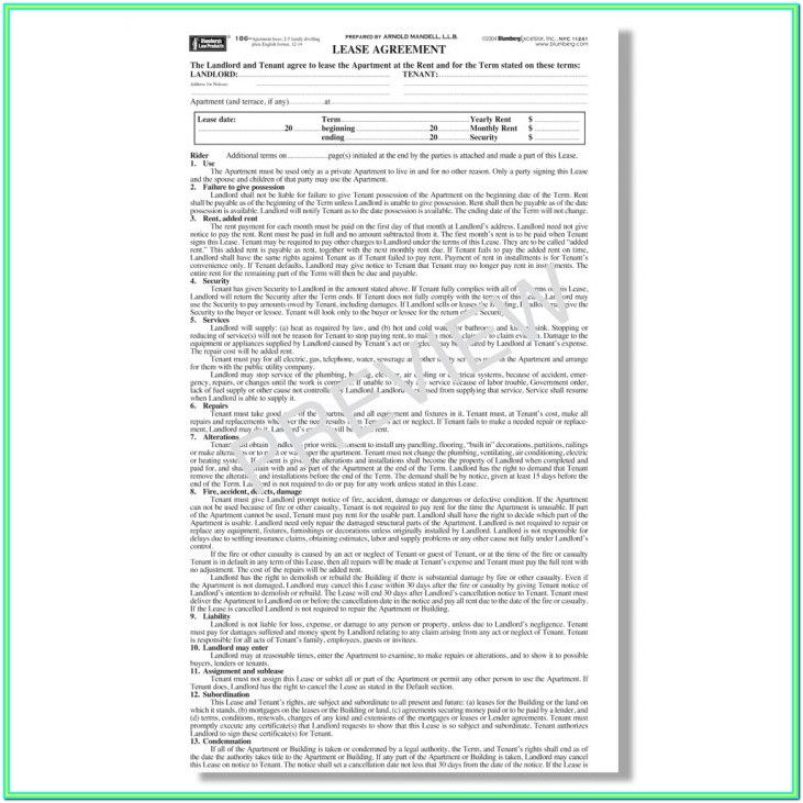 Nyc Apartment Lease Form Pdf