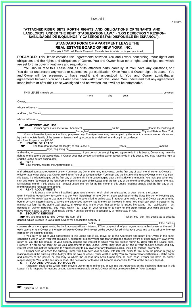 Nyc Apartment Lease Form