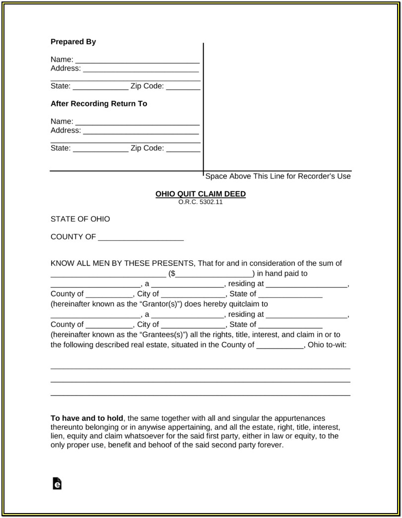 Ohio Quit Claim Deed Form Pdf