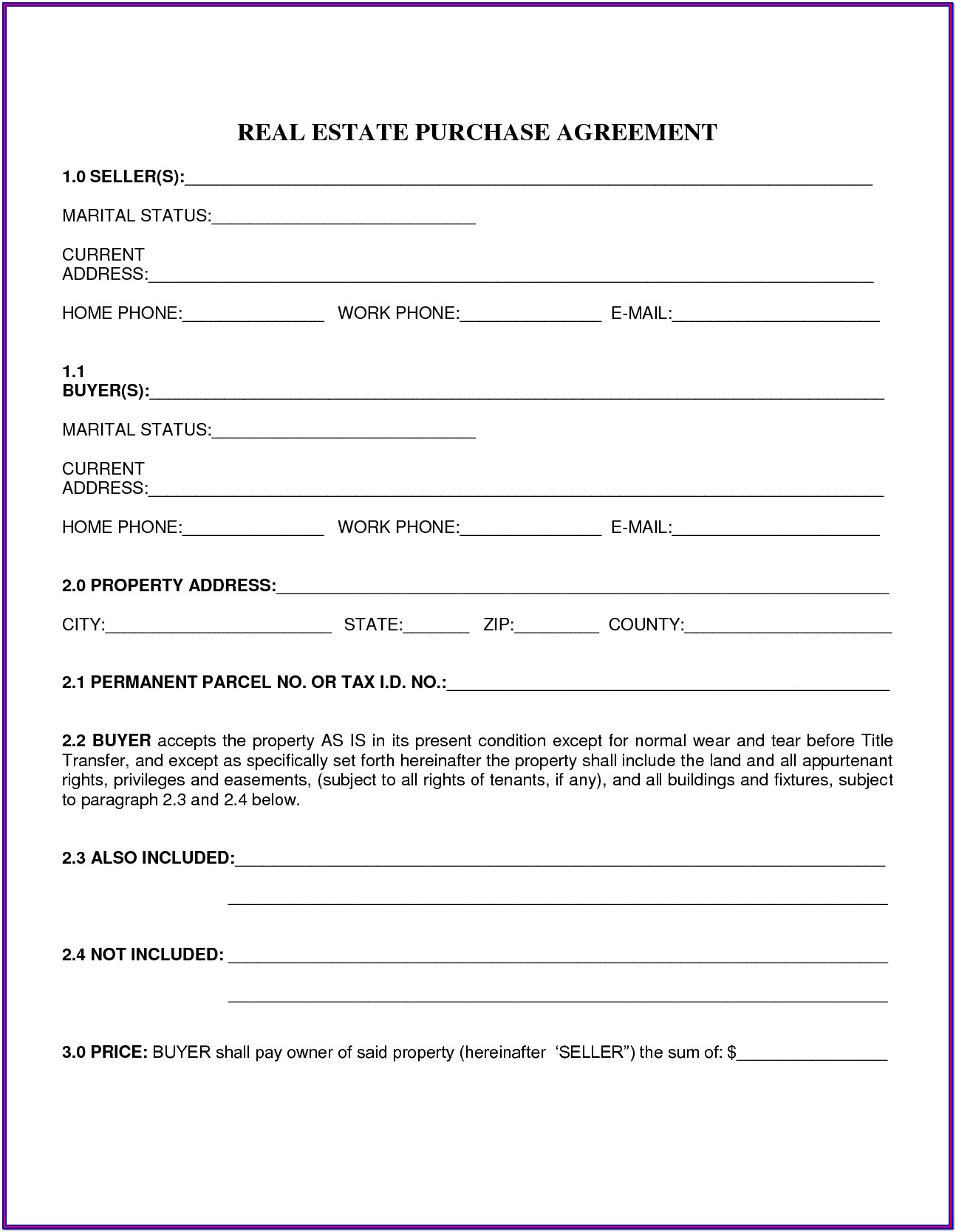 Ohio Real Estate Purchase Contract Form