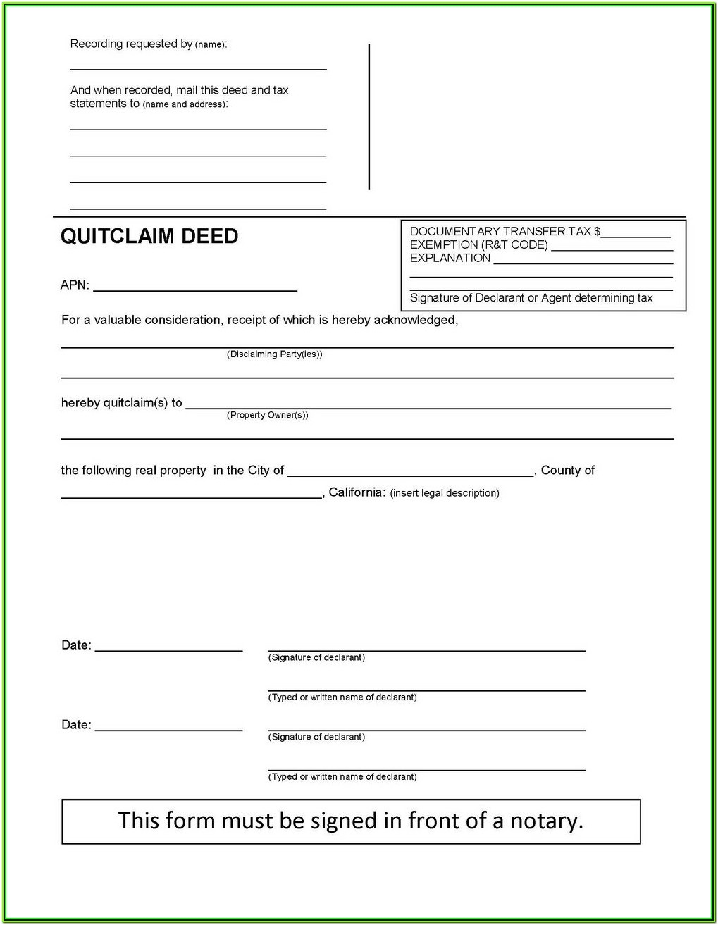 Oklahoma County Quit Claim Deed Form