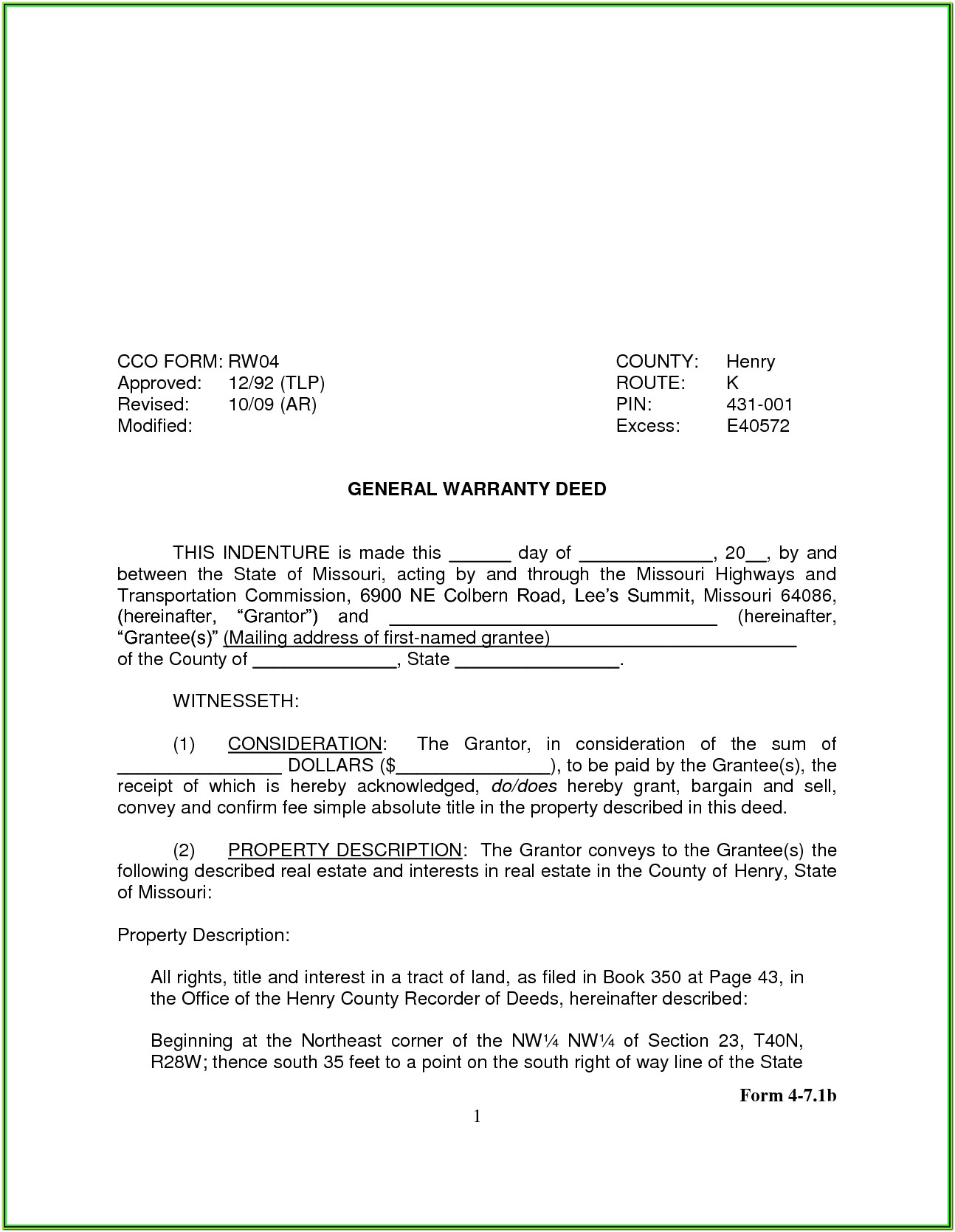 Oklahoma Quit Claim Deed Template