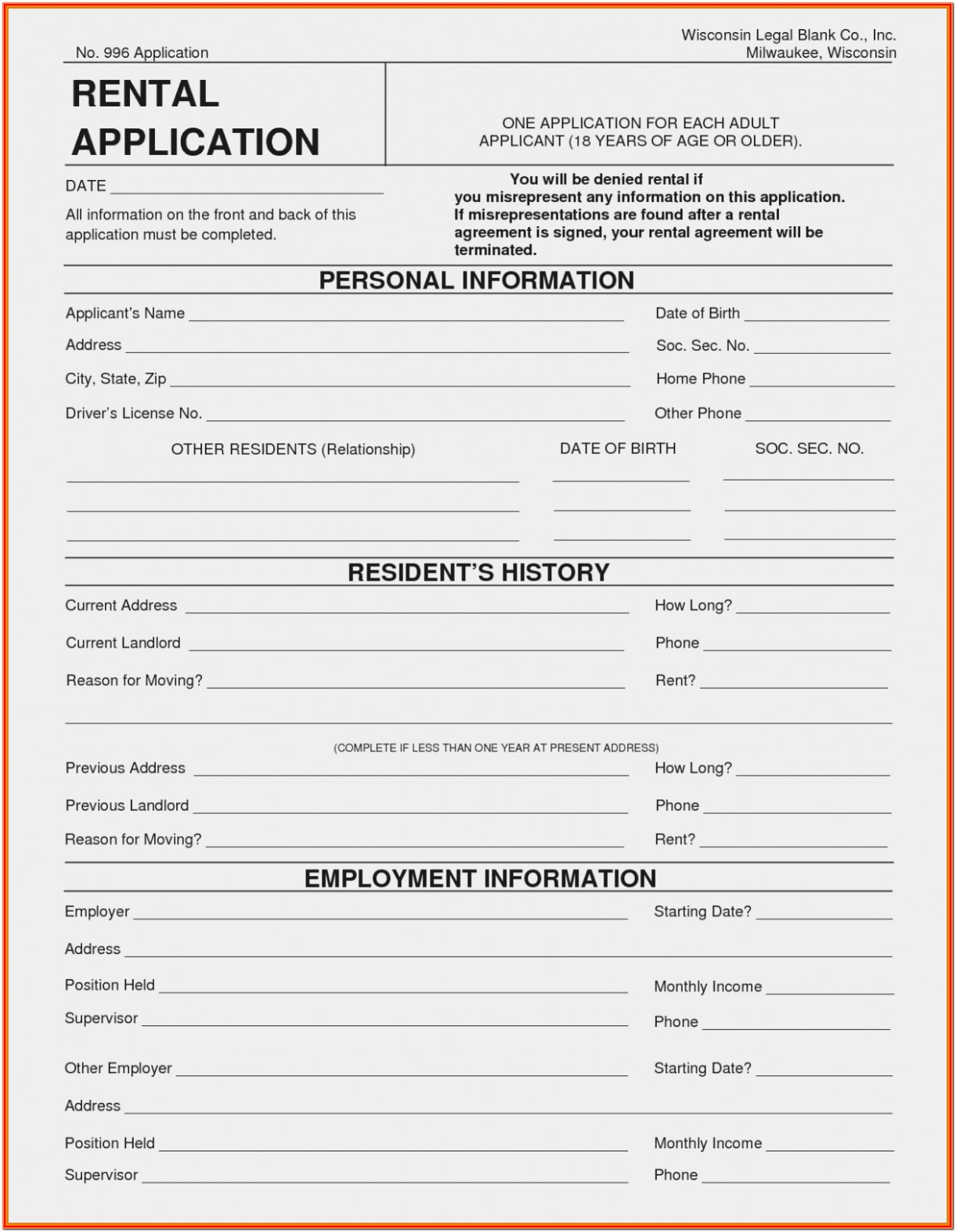 Oregon Rental Application Form Free
