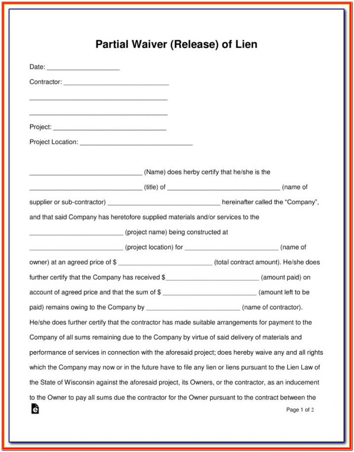 Partial Lien Waiver Form Illinois