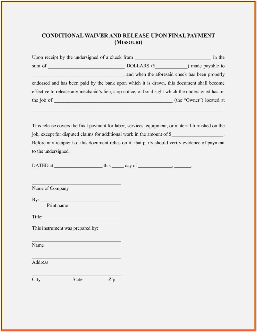 Partial Lien Waiver Form Missouri
