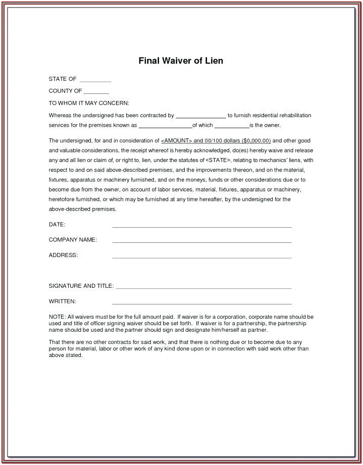 Partial Waiver Of Lien Form Illinois
