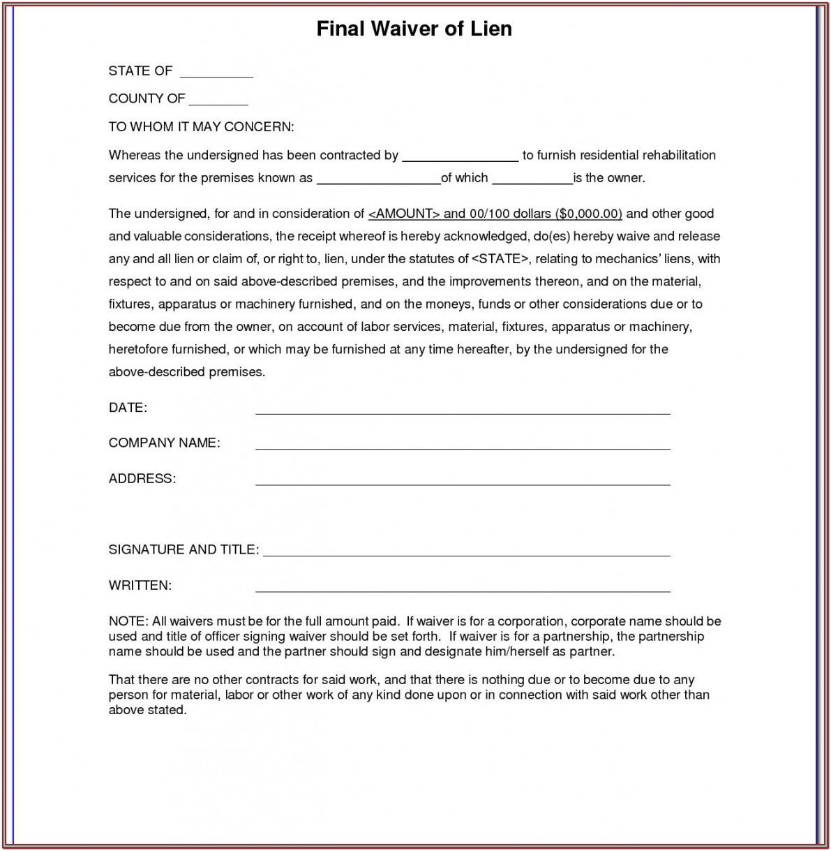 Partial Waiver Of Lien Form