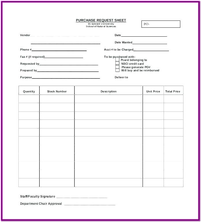 Parts Requisition Form Excel