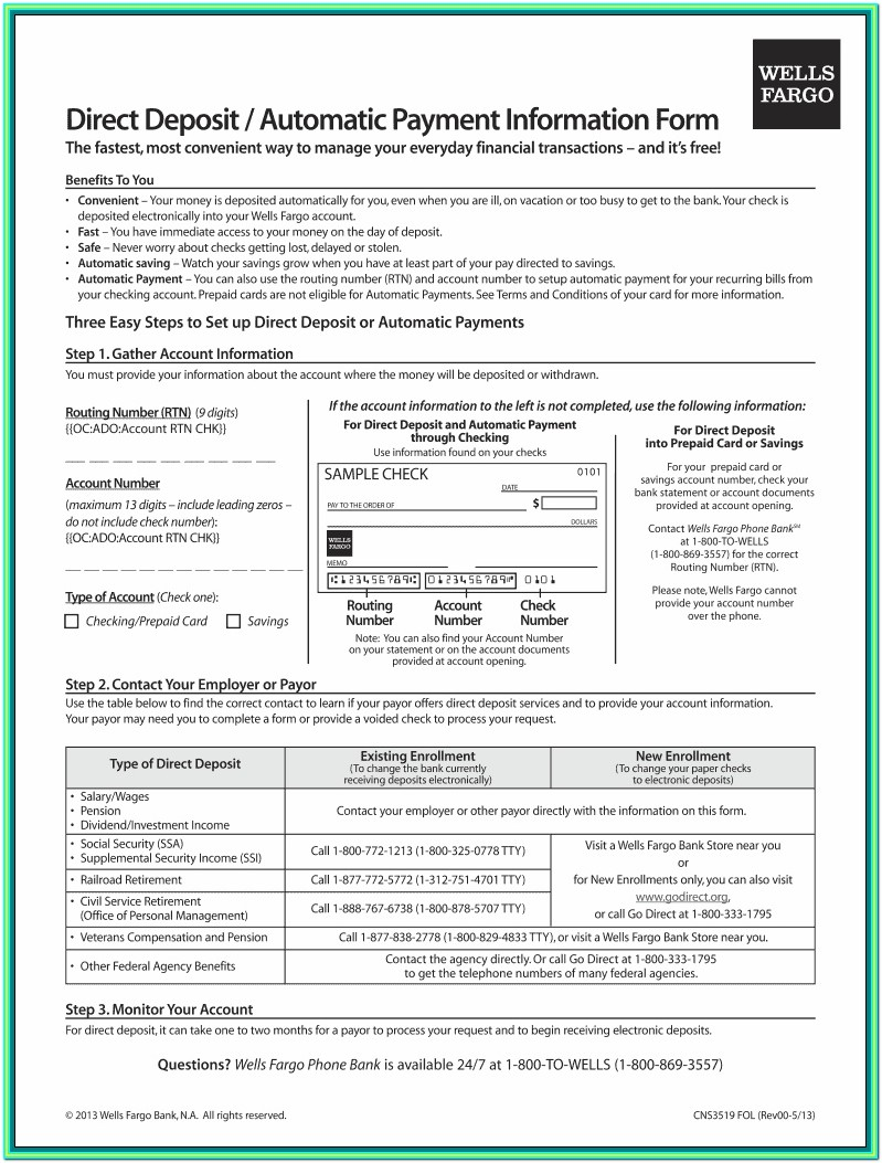 Payroll Direct Deposit Authorization Form