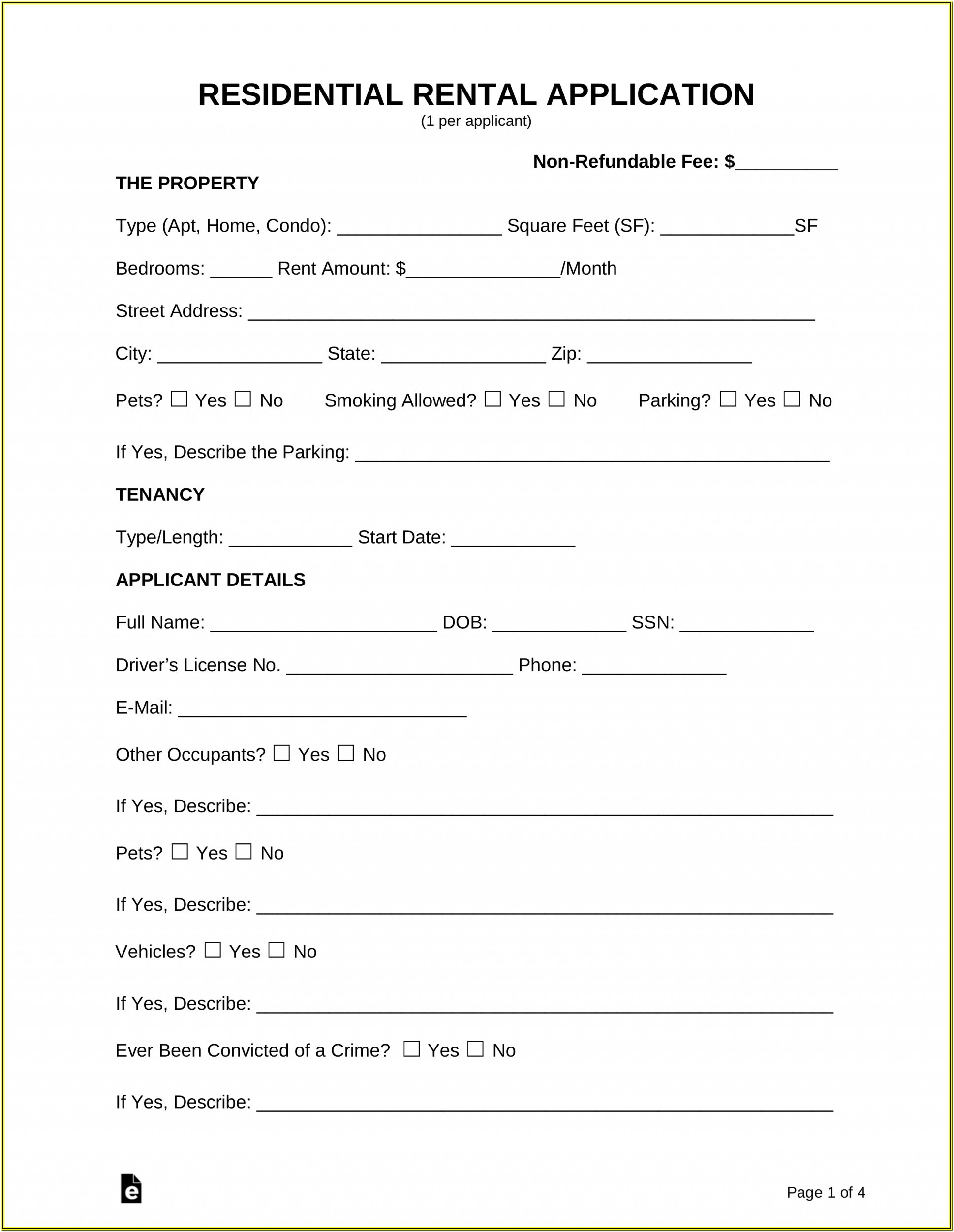 Pdf Rental Application Form Template
