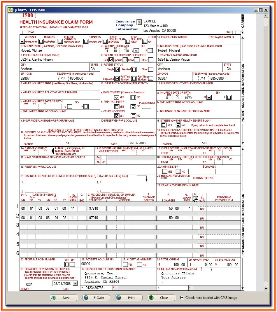 Pdf Sample Cms 1500 Form