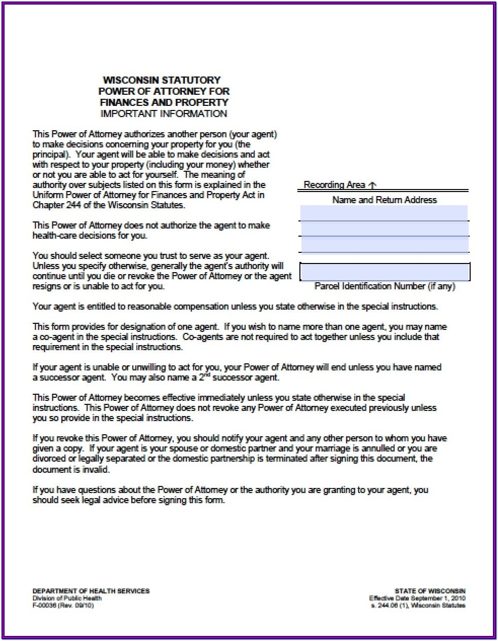 Power Of Attorney For Finances Form Wisconsin