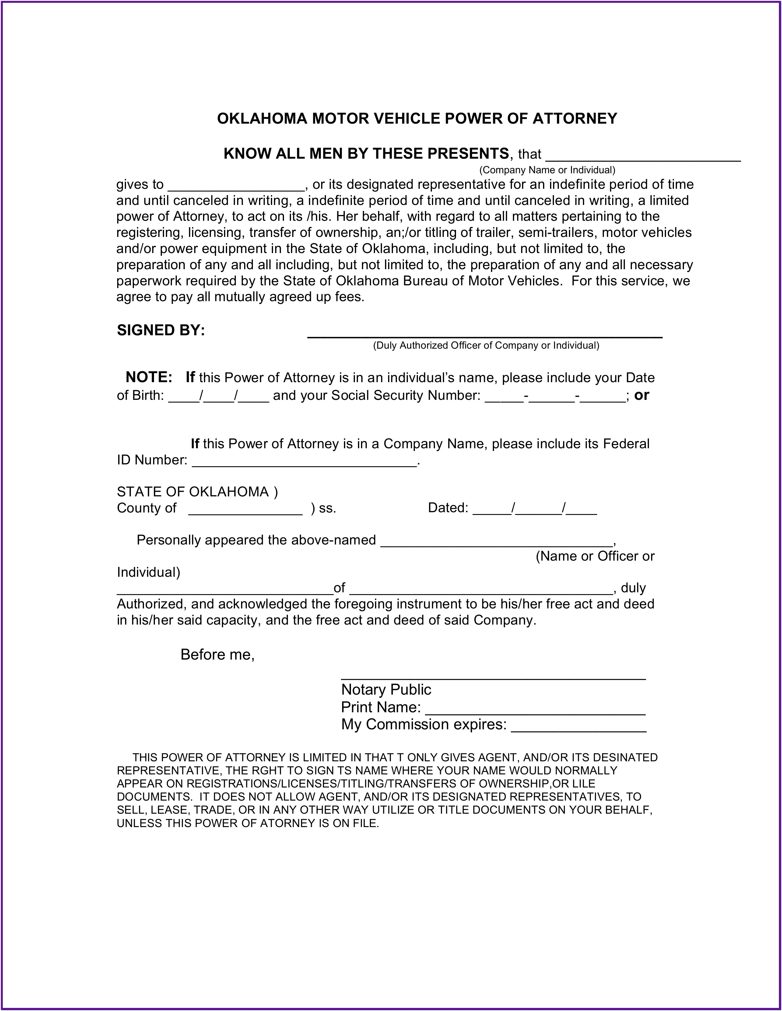 Power Of Attorney Form Oklahoma
