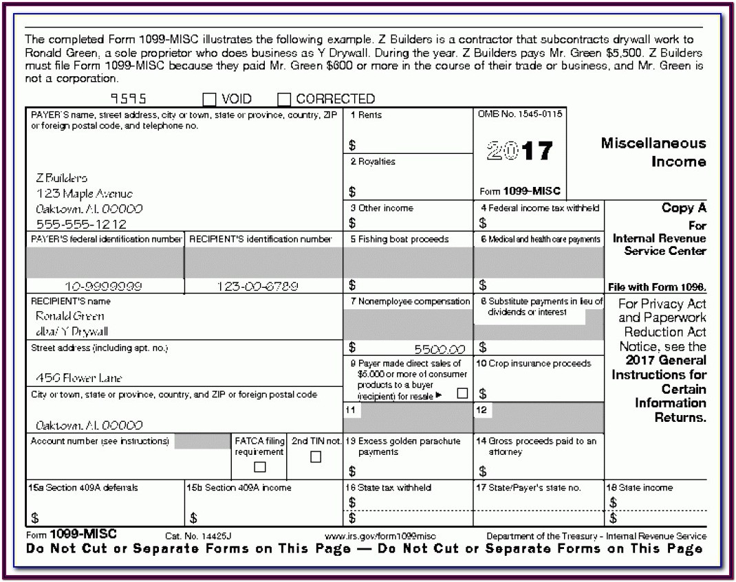Printable 1099 Tax Form