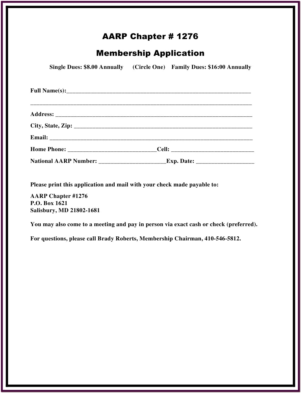 Printable Aarp Application Form