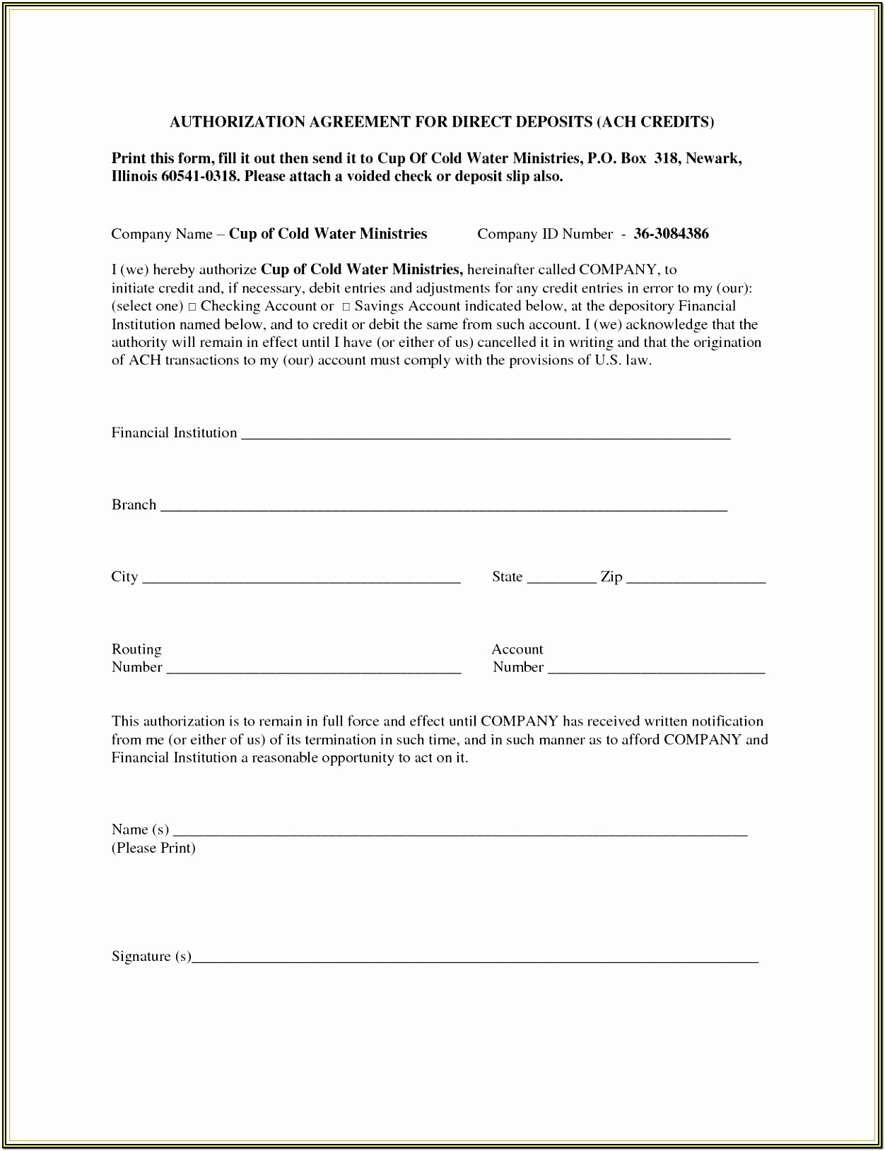 Printable Ach Payment Form Template